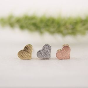 Rose Gold Heart Dainty Mini Stud Earrings